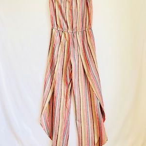 NWT Anthropology Drew Red Rainbow Jumpsuit